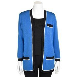 St. John Bright Aegean Blue Santana Knit Cardigan